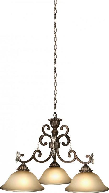 Artcraft Three Light Bronze Carmelized Glass Down Chandelier - AC1828