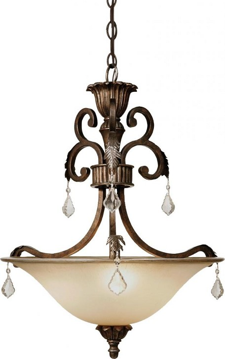 Artcraft Three Light Bronze Carmelized Glass Up Pendant - AC1833