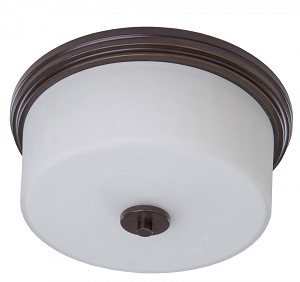 Artcraft Two Light Oil Rubbed Bronze Clean Opal White Glass Drum Shade Flush Mount - AC2193OB