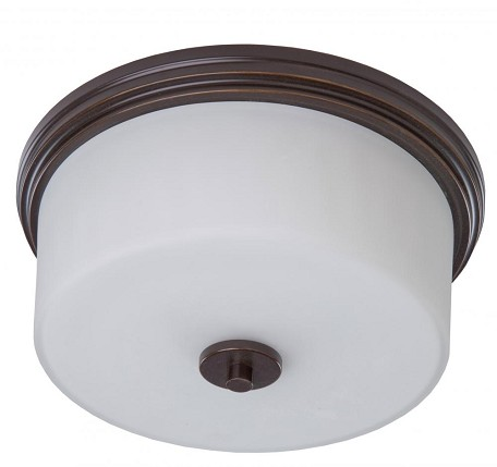 Two Light Oil Rubbed Bronze Clean Opal White Glass Drum Shade Flush Mo