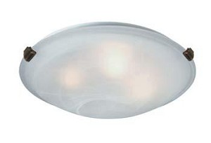 Artcraft Four Light Antique Brass Semi-clear White Glass Bowl Flush Mount - AC2353SPAB