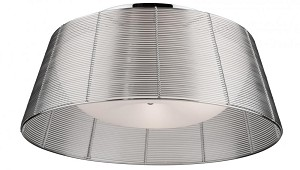 Artcraft Three Light White Dome Glass Silver Metal Wire Shade Drum Shade Flush Mount - AC314SL