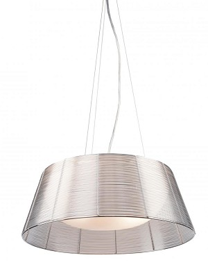 Artcraft Three Light White Dome Glass Silver Metal Wire Shade Drum Shade Pendant - AC317SL