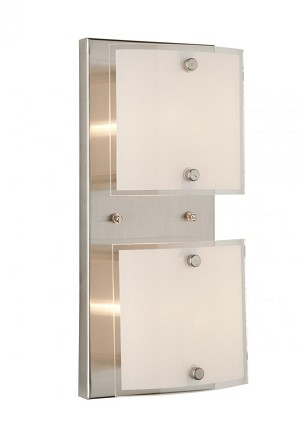 Artcraft Two Light Brushed Nickel Frosted Glass Vanity - AC3332