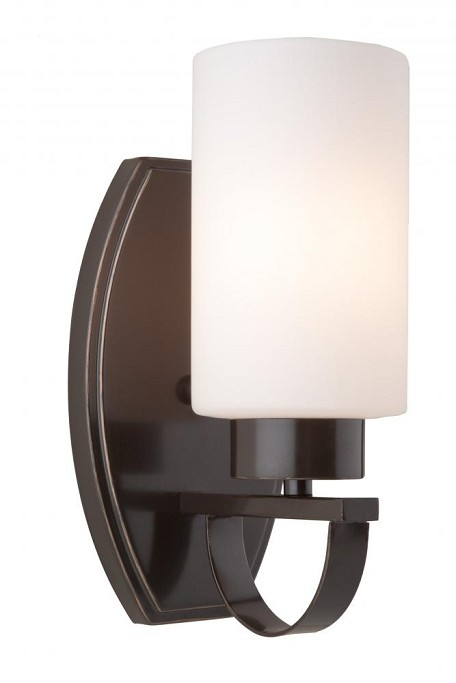 One Light Oil Rubbed Bronze Clean Opal White Glass Wall Light
