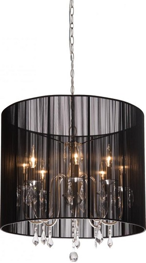 Artcraft Eight Light Polished Nickel Silk String Shade Up Chandelier - AC382BK