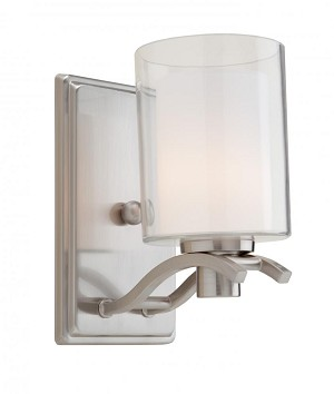 Artcraft One Light Polished Nickel Interior-frosted, Outer-clear Glass Wall Light - AC5731PN