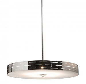 Artcraft Four Light Chrome Drum Shade Pendant - AC6001