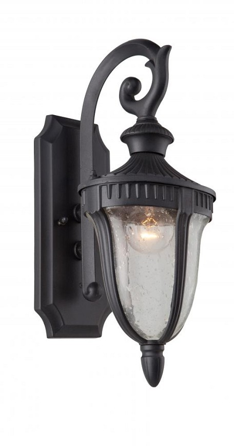 Artcraft One Light Seeded Clear Glass Graphite Wall Lantern - AC8020GR