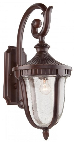 Artcraft One Light Seeded Clear Glass Mahogany Wall Lantern - AC8022MA
