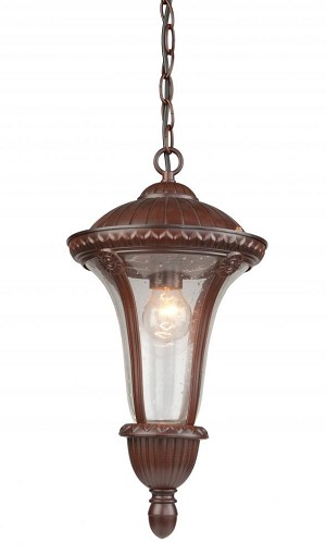 Artcraft One Light Seeded Clear Glass Mahogany Hanging Lantern - AC8035MA
