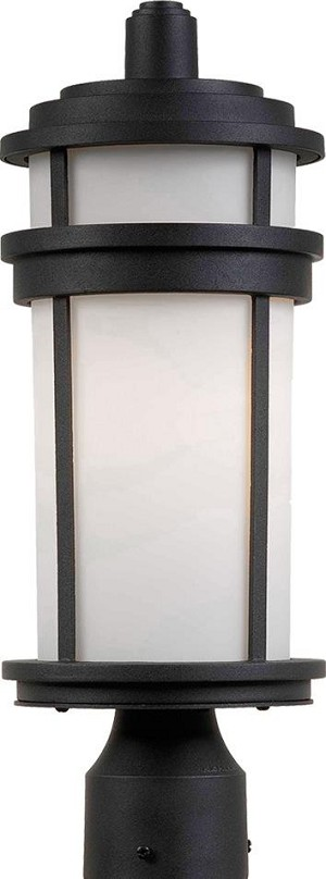 Artcraft One Light Black White Glass Post Light - AC8083BK