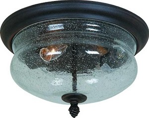 Artcraft Two Light Seeded Clear Glass Rich Bronze Outdoor Flush Mount - AC8246BZ