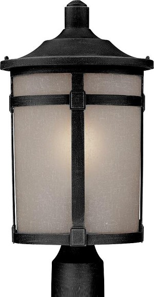 Artcraft One Light Black White Linen Glass Post Light - AC8643BK