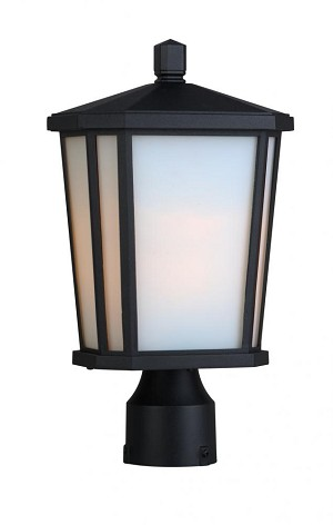 Artcraft One Light Black Interior-white, Outer-etched Glass Post Light - AC8773BK