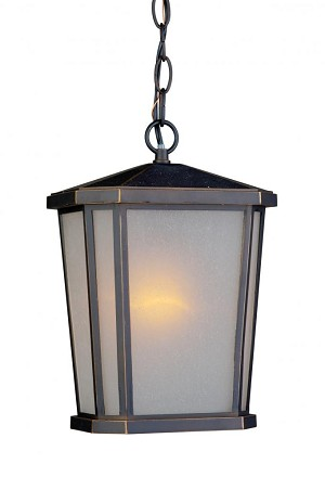 Artcraft One Light Oil Rubbed Bronze Interior-white, Outer-etched Glass Hanging Lantern - AC8775OB