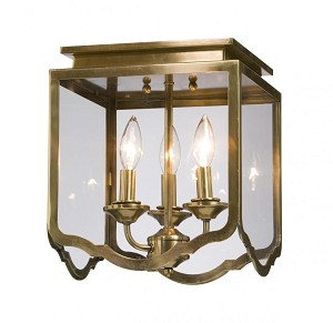 Artcraft Three Light Antique Brass Bevelled Clear Glass Cage Flush Mount - AC947AB