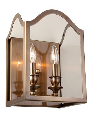Artcraft Two Light Antique Brass Bevelled Clear Glass Outdoor Wall Light - AC949AB
