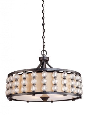 Artcraft Four Light Multi-tone Slate Amber Type Satin Hard Back Shade Drum Shade Pendant - CD2034