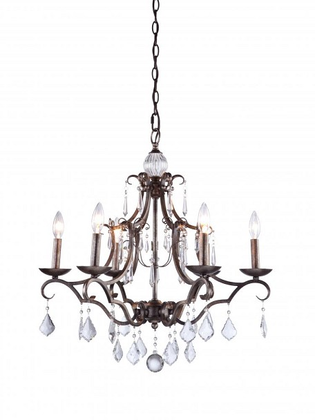Artcraft Six Light Antique White Up Chandelier - CL1576AW