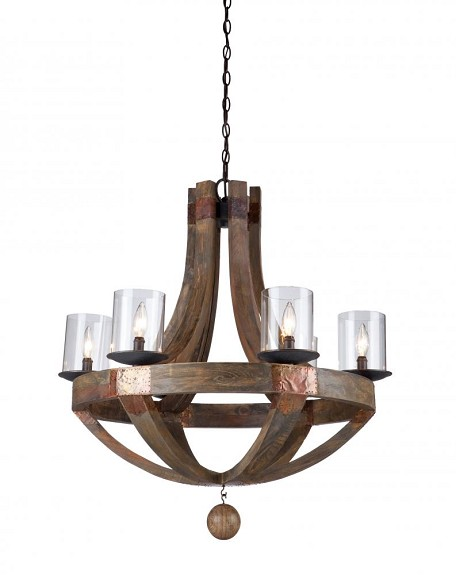 Six Light Clear Glass Copper Up Chandelier