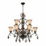 Artcraft Nine Light Multi-tone Bronze Caspitan Type Amber Glass Up Chandelier - AC1469