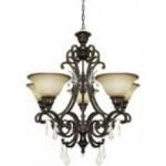 Artcraft Five Light Bronze Carmelized Glass Up Chandelier - AC1827