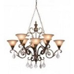 Artcraft Eight Light Bronze Carmelized Glass Up Chandelier - AC1848