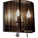 Artcraft Two Light Polished Nickel Silk String Shade Wall Light - AC387BK