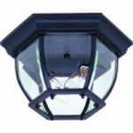 Artcraft Two Light Black Clear Glass Outdoor Flush Mount - AC8096BK
