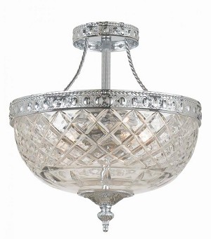 Crystorama Two Light Polished Chrome Lead Crystal Glass Bowl Semi-Flush Mount - 118-8-CH