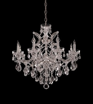 Crystorama Nine Light Polished Chrome Clear Hand Cut Glass Up Chandelier - 4409-CH-CL-MWP