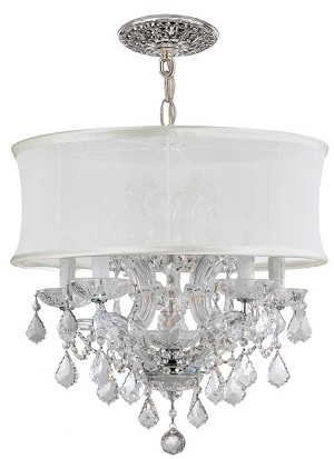Crystorama Six Light Polished Chrome Hand Polished Glass Up Chandelier - 4415-CH-SMW-CLM