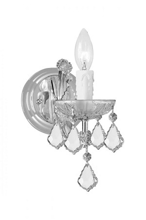 Crystorama One Light Polished Chrome Swarovski Spectra Glass Wall Light - 4471-CH-CL-SAQ
