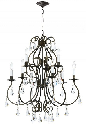 Crystorama Nine Light English Bronze Hand Polished Glass Up Chandelier - 5019-EB-CL-MWP