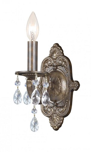 Crystorama One Light Antique White Wall Light - 5021-AW-CL-S