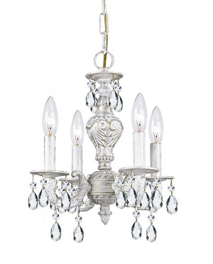 Crystorama Four Light Antique White Hand Polished Glass Up Chandelier - 5024-AW-CL-MWP
