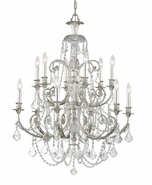Crystorama Six Light Olde Silver Hand Polished Glass Up Chandelier - 5119-OS-CL-MWP