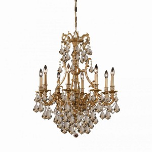 Crystorama Eight Light Aged Brass Golden Teak Hand Polished Glass Up Chandelier - 5148-AG-GT-MWP