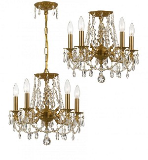 Crystorama Five Light Aged Brass Swaroski Strass Glass Up Chandelier - 5545-AG-CL-S