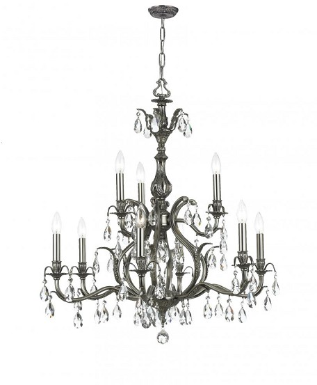 Crystorama Nine Light Antique Brass Golden Teak Swarovski Elements Glass Up Chandelier - 5569-AB-GTS