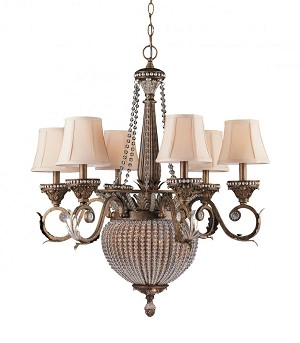 Crystorama Eight Light Weathered Patina Crystal Beads Glass Up Chandelier - 6726-WP