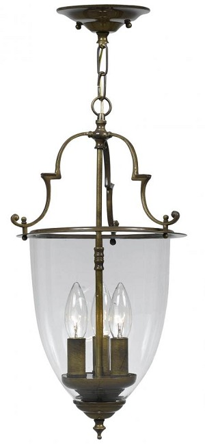 Crystorama Three Light Autumn Brass Foyer Hall Pendant - 973-AU