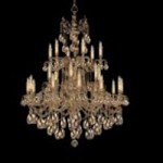 Crystorama Twenty Four Light Olde Brass Golden Teak Hand Polished Crystal Glass Up Chandelier - 2724-OB-GT-MWP