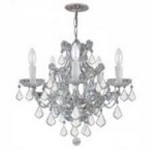 Crystorama Six Light Polished Chrome Swarovski Spectra Glass Up Chandelier - 4405-CH-CL-SAQ