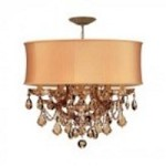 Crystorama Six Light Antique Brass Golden Teak Hand Cut Glass Up Chandelier - 4415-AB-SHG-GTM
