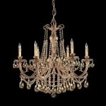 Crystorama Six Light Olde Brass Golden Teak Swarovski Elements Glass Up Chandelier - 476-OB-GTS