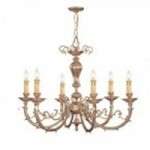 Crystorama Six Light Olde Brass Up Chandelier - 486-OB