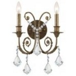 Crystorama Two Light English Bronze Hand Polished Glass Wall Light - 5112-EB-CL-MWP