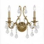 Crystorama Two Light Aged Brass Swarovski Spectra Glass Wall Light - 5142-AG-CL-SAQ